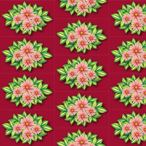Pink daisies on jester red