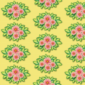 Pink daisies on lemon verbena wallpaper