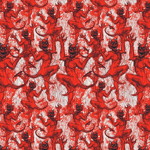 Red devils on grey