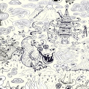 chinoiserie toile dragons bats, ivory cream white navy blue black