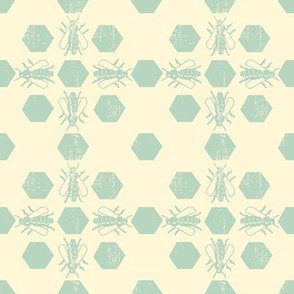 Cream Blue Bee Pattern
