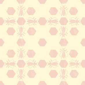 Cream Pink Bee Pattern