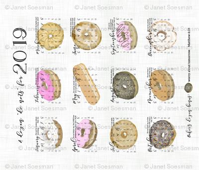 Tea Towel Calendar.Donuts.sf