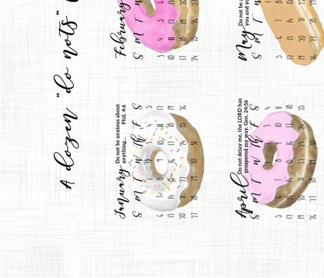 Tea Towel Calendar.Donuts.sf fabric by drawingneardesigns on Spoonflower - custom fabric