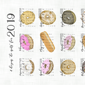 Tea Towel Calendar.Donuts.sf