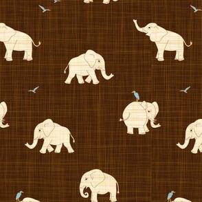 beige elephant on brown