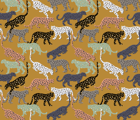 africa africa - leopards - gold - mini fabric by booboo_collective on Spoonflower - custom fabric
