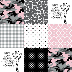 Hipster Giraffe//Pink//Camo - Wholecloth Cheater Quilt