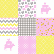 Farm - Wholecloth Cheater Quilt - Cow Hearts Chevron Pink YellowFRM3