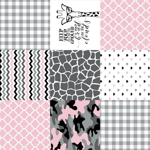 Hipster Giraffe//Pink//Camo - Wholecloth Cheater Quilt - Rotated