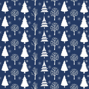 White Trees And Snowflakes Dark Blue