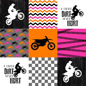 Motocross//Racing Mom//A little Dirt Never Hurt - Pink/Orange - Wholecloth Cheater Quilt