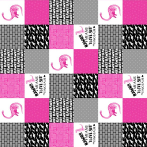 3 inch Dinosaur//Rawr means I love you//Hot Pink - Wholecloth Cheater Quilt - Rotated
