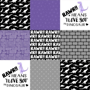 Dinosaur//Rawr means I love you//Purple - Wholecloth Cheater Quilt