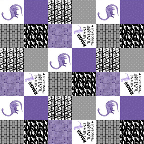 3 inch Dinosaur//Rawr means I love you//Purple - Wholecloth cheater quilt - Rotated