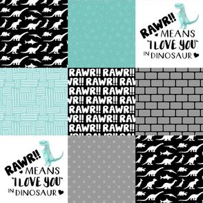 Dinosaur//Rawr Means I love you//Aqua - Wholecloth Cheater Quilt