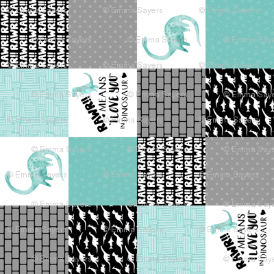 Dinosaur//Rawr Means I love you//Aqua - Wholecloth Cheater Quilt - Rotated