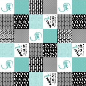 3 inch Dinosaur//Rawr means I love you - Wholecloth Cheater Quilt - Rotated