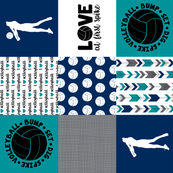 Volleyball//Love at first Spike//Wholecloth Cheater Quilt - Rotated
