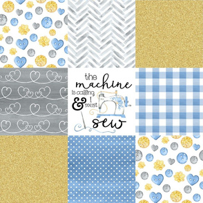 Sewing//The Machine is calling//Blue&Gold - Wholecloth Cheater Quilt
