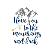 Love you to the mountains and back - 2 yard layout - Crib Sheet