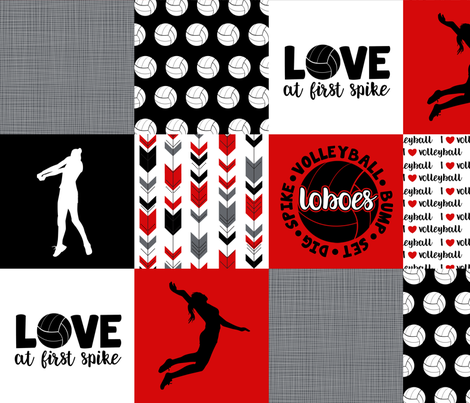 Volleyball//Love at first spike//Loboes - Wholecloth Cheater Quilt fabric by longdogcustomdesigns on Spoonflower - custom fabric
