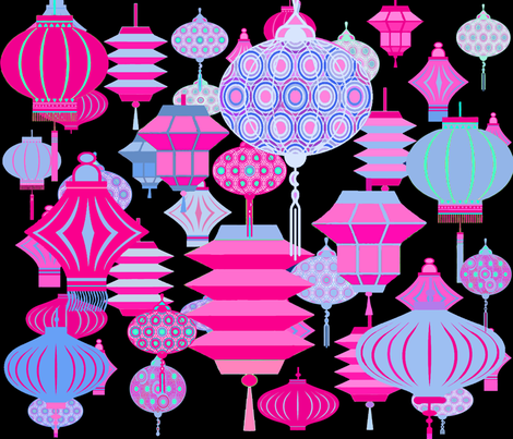 Boho Chinese Lanterns fabric by vagabond_folk_art on Spoonflower - custom fabric
