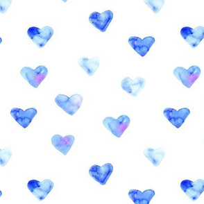 Blue hearts • watercolor love pattern
