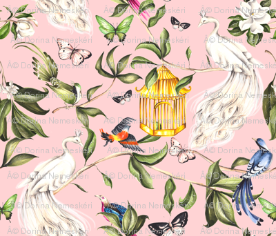White Peacock Chinoiserie Pink