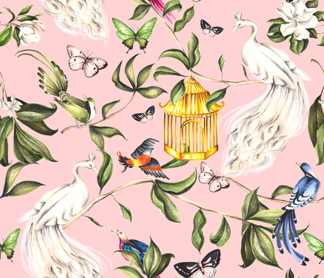 White Peacock Chinoiserie Pink fabric by dorinus_illustrations on Spoonflower - custom fabric