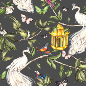 White Peacock Chinoiserie Graphite