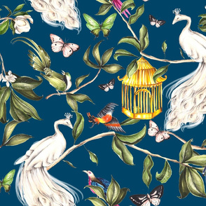 White Peacock Chinoiserie Blue