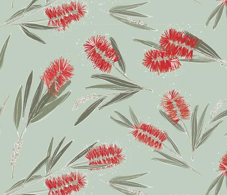 South Australian Bottlebrush in 'Mint' fabric by rachelkatedarling on Spoonflower - custom fabric