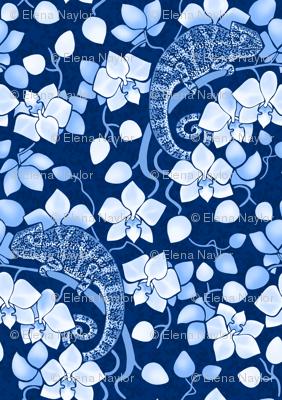 Chameleons and orchids (blue)