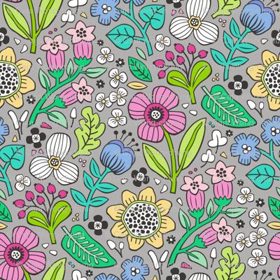 Garden Florals on Grey