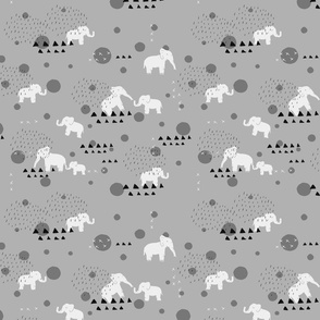 Elephants Carousel Grey // Nursery Theme