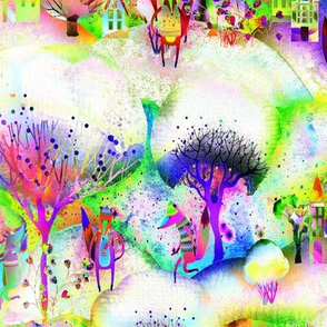 MULTICOLOR 4 BRIGHT ON WHITE  FOXES WALK TOWN  YELLOW GREEN BLUE  WATERCOLOR