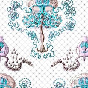 Haeckel's jellyfish damask turquoise+mauve