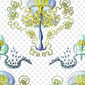 Haeckel's jellyfish damask blue+ gold