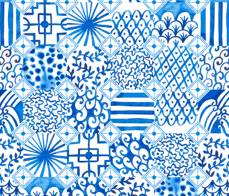 White and blue Chinese porcelain  fabric by kostolom3000 on Spoonflower - custom fabric