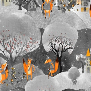 WINTER FOXES WALK TOWN ORANGE GREY GRAY WOODLAND STARRY SKY WATERCOLOR