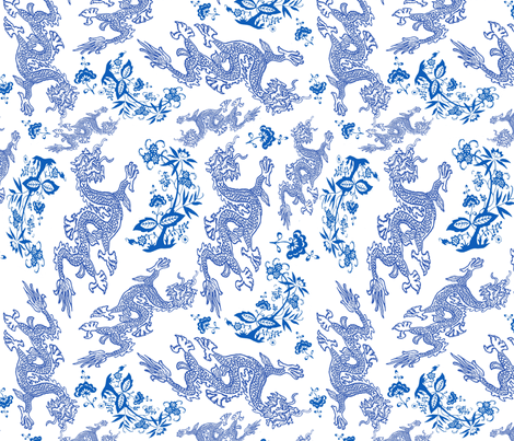 blue Dragon pattern larger fabric by jktphotofab on Spoonflower - custom fabric