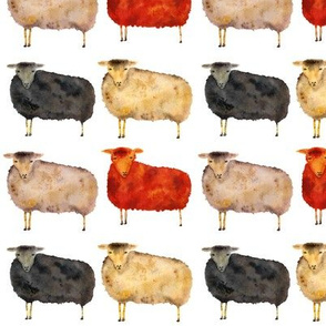 flock of sheep, watercolor pattern