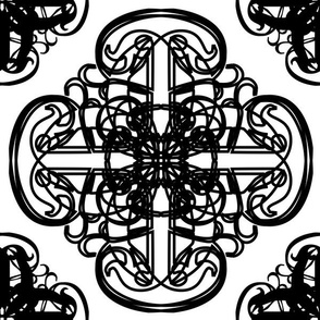 Intricate Squares Large Black and White