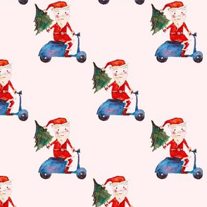 Biker-santa in pink || watercolor christmas pattern