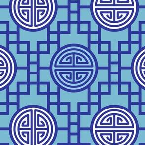 Chinese geometrics Blue Large