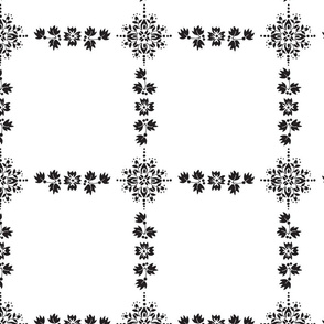 Black and White Flower and Leaves Grid