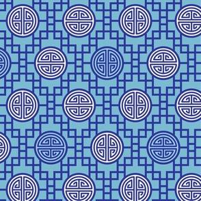 Chinese geometrics Blue Small