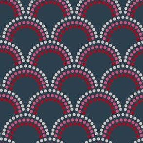 Scallop Dots in Red, Pinks on Navy