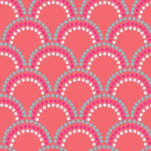 Scallop dots in orange aqua pink